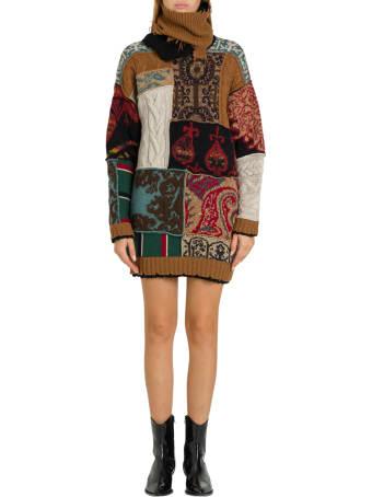 Etro Maxi Sweater In Patchwork Jacquard