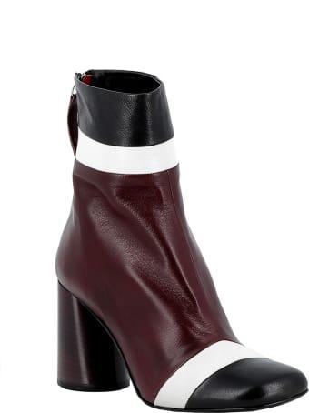 Halmanera Bordeaux/black/white Leather Ankle Boots