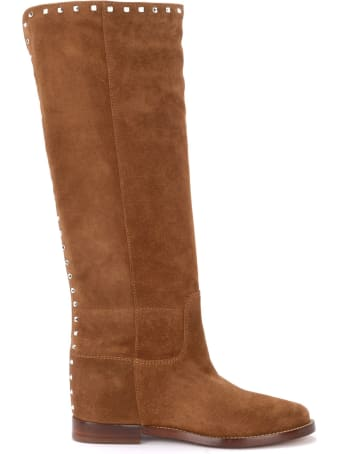Via Roma 15 Boot In Brown Suede With Rear Studs