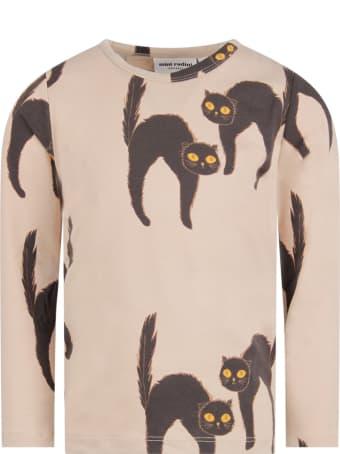 Mini Rodini Grey Kids T-shirt With Black Cat