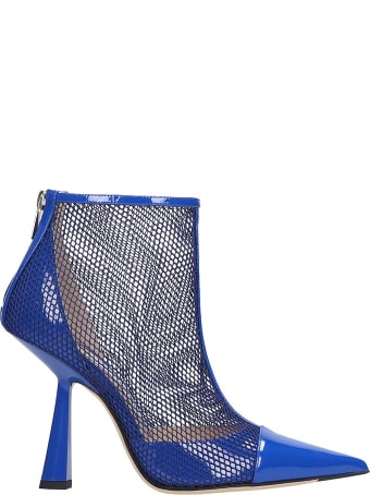 Jimmy Choo Kix 100 High Heels Ankle Boots In Blue Leather