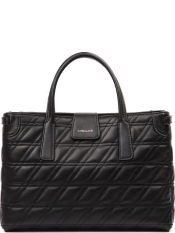 Zanellato Black Duo Metropolitan S Zeta Leather Bag