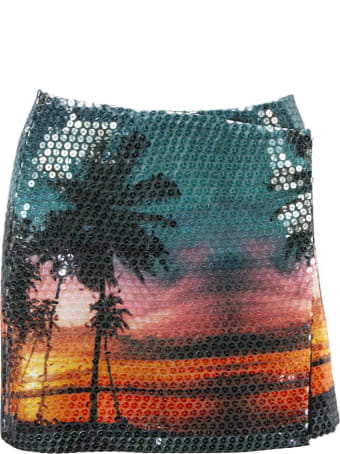 Laneus Multicolour Tropical Print Mini Skirt