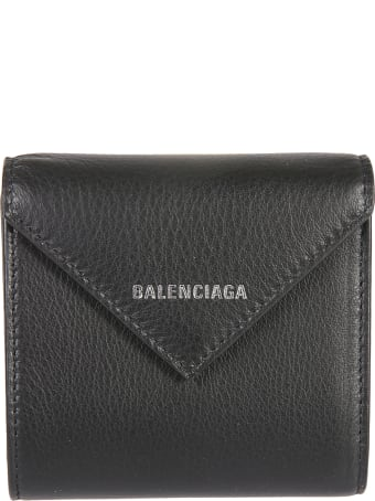 Balenciaga Grained Leather Flap Logo Wallet