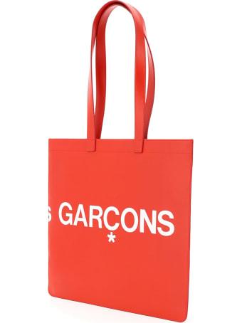 Comme des Garçons Wallet Leather Tote Bag With Logo