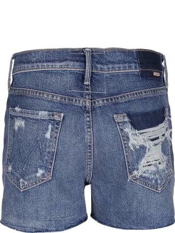 Mother Blue Cotton Blend Denim Shorts