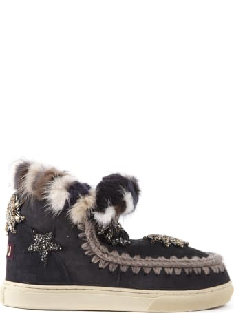 Mou Eskimo Star Sneaker Black Suede Ankle Boot