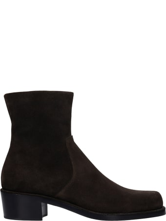 Rochas Ankle Boots In Brown Suede