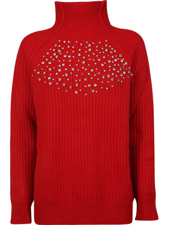 Be Blumarine Crystal Embellished Ribbed Sweater