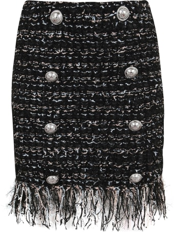 Balmain Short 8 Btn Dark Pastel Tweed Skirt