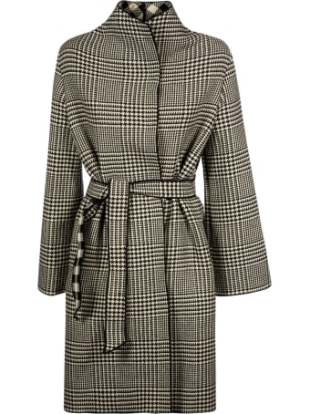 Emporio Armani Tie-waist Houndstooth Coat