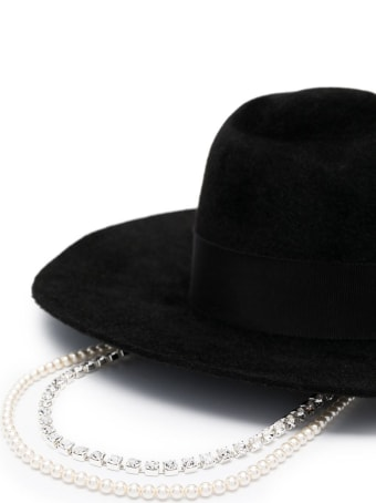 Ruslan Baginskiy Fedora Hat With Crystals And Pearls