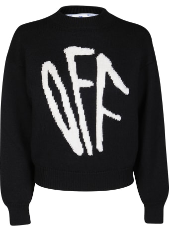 Off-White White Wool Blend Off Graffiti Jumper