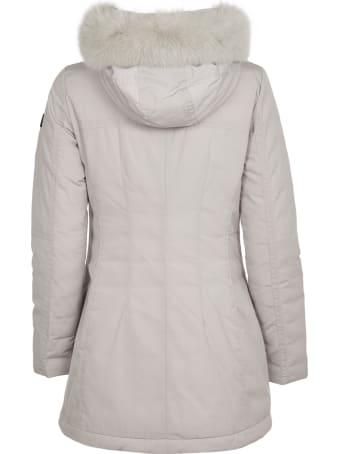 Peuterey Grey Long Down Teffeta Jacket