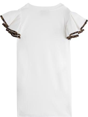 Fendi Cotton Dress With Flounced Sleeves