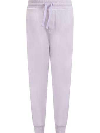 Dolce & Gabbana Lilac Sweatpants For Girl With Logo