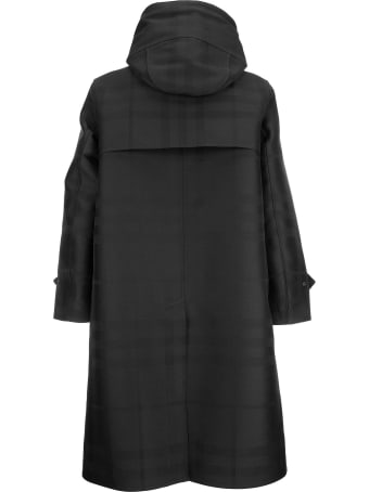 Burberry Globe Graphic Detail Check Technical Cotton Coat Witham Black