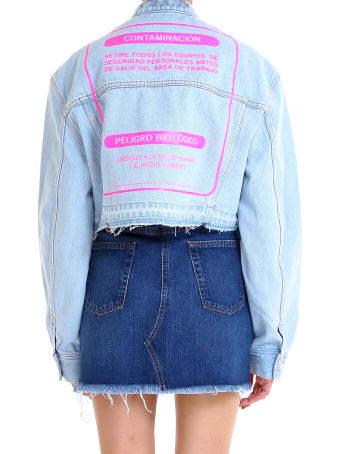 Marcelo Burlon Bleach Wash Cropped Denim Jacket