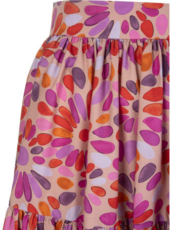 Gianluca Capannolo Red/pink Cotton Floral-print Tiered Skirt