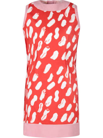 Marni Red Girl Dress With White Spots