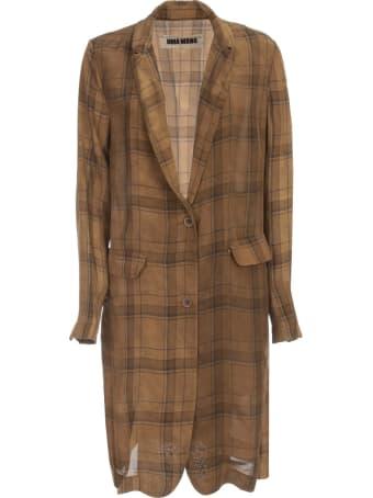Uma Wang Katia Checked Long Viscose Jacket