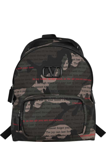 Valentino Vlogo Camouflage Print Backpack