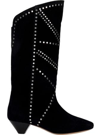 Isabel Marant Darka Low Heels Boots In Black Suede