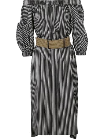 Brunello Cucinelli Stripe Print Off-shoulder Dress