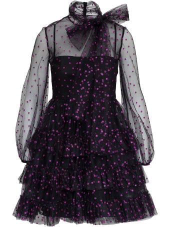 RED Valentino Purple Polka Dot Tulle Dress