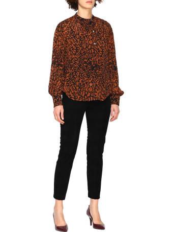 Calvin Klein Shirt Leopard Print Silk