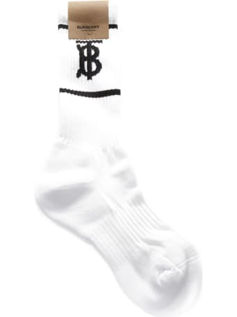 Burberry White And Black Blend Cotton Socks With Logo