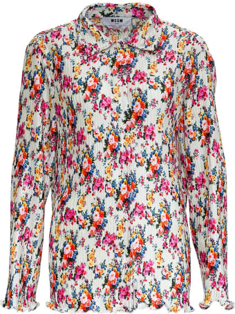 MSGM Pleated Shirt With Floral Print