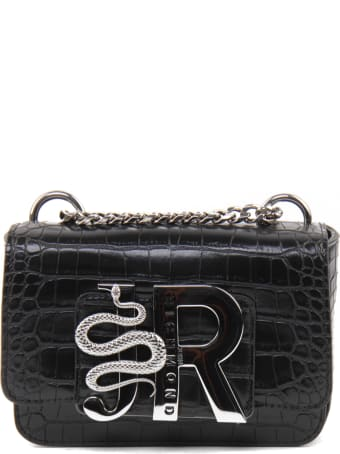 John Richmond Crocodile Effect Bag With Silver Logo