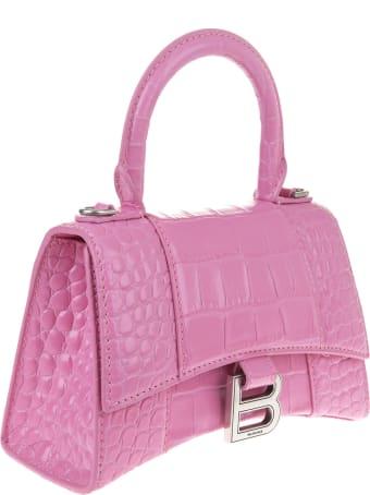 Balenciaga Pink Crocodile Processing Top Handle Hourglass Xs Bag