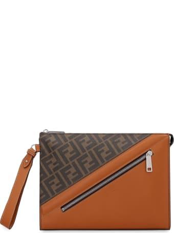 Fendi Matte Leather Flat Pouch
