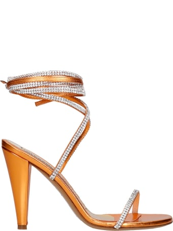 Alexandre Vauthier Sandals In Orange Leather