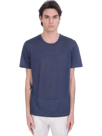 120% Lino T-shirt In Blue Linen