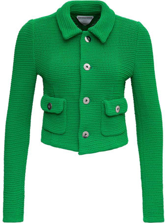 Bottega Veneta Racked Ribbed Green Knit Jacket