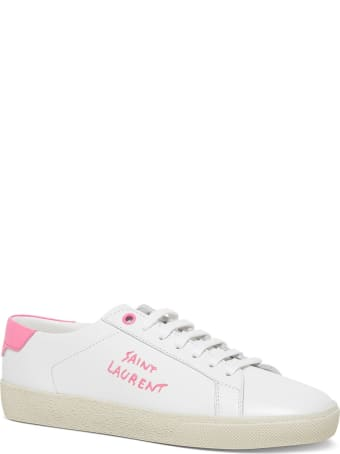 Saint Laurent Court Classic Leather Sneakers With Logo