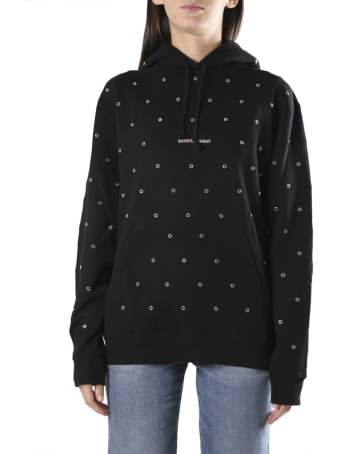 Saint Laurent Cotton Hoodie With Logo And Metal Eyelets