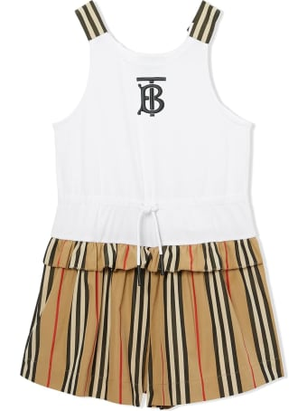 Burberry White And Beige Cotton Playsuit