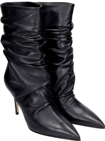 Le Silla Eva 90 High Heels Ankle Boots In Black Leather