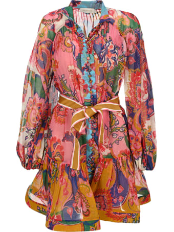 Zimmermann The Lovestruck Mini Dress In Mixed Paisley Floral