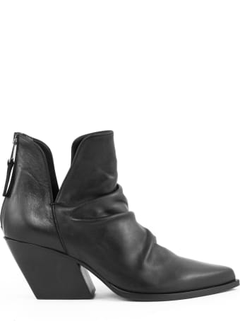 Elena Iachi Black Leather Ankle Boots