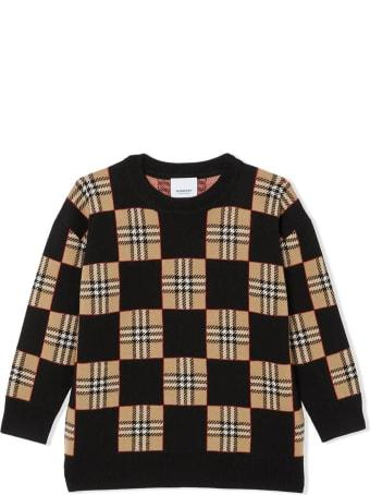 Burberry Black And Beige Merino Wool Jumper