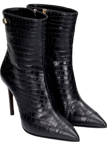 Grey Mer High Heels Ankle Boots In Black Leather