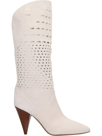 Isabel Marant Lurrey  High Heels Boots In White Leather