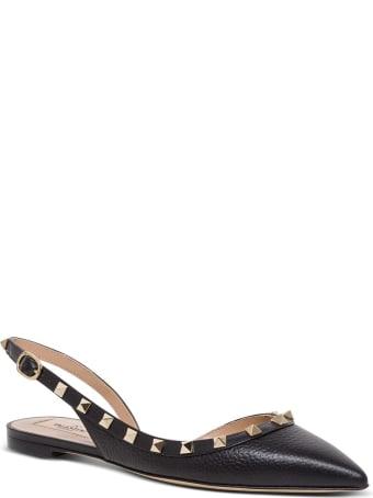 Valentino Garavani Rockstud Slingback Ballerina Shoes