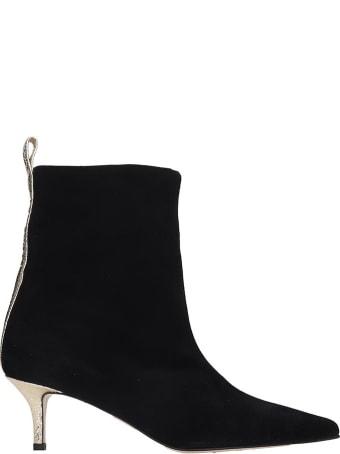 Marc Ellis Low Heels Ankle Boots In Black Suede