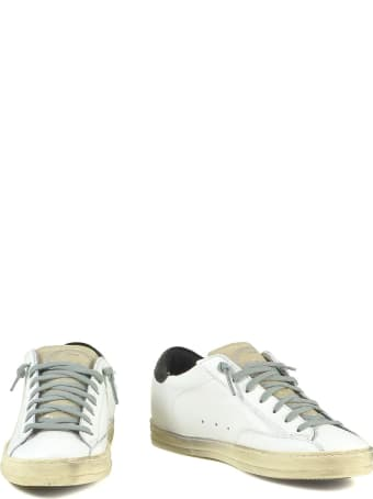 P448 White Leather Women's Sneakers W/black Signature Details